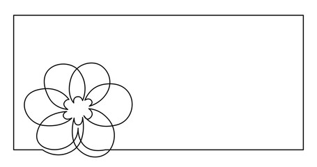 continuous line drawing of flower greetings card design