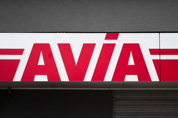 Detail of Avi petrol station in Basel, Switzerland. Avia is fuel distribution company with over 3000 petrol stations in 14 European countries.