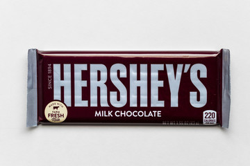 A Single Hershey's Chocolate Candy Bar