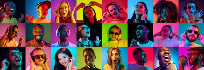 Beautiful male and female portrait on multicolored neon light backgroud. Smiling, surprised, screaming, dance. Human emotions, facial expression. Creative collage made of different photos of 14 models