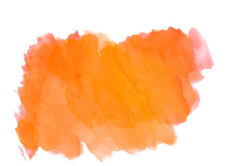 orange abstract watercolor strokes.Colorful banner.Bright watercolor background for design
