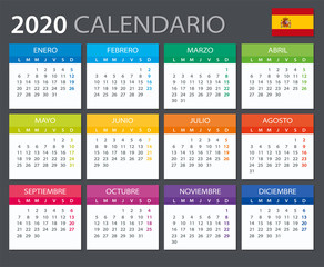 2020 Calendar Spanish - vector illustration