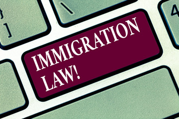 Conceptual hand writing showing Immigration Law. Business photo text National Regulations for...
