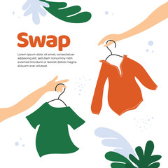 Vector illustration for swap shop or party, event of exchange old wardrobe for new. Two hands with clothes hangers. Exchange clothes. Template for banner,poster, layout,flyer, invitation,advert, print