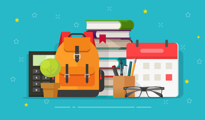 School bag and education objects on desk vector illustration, flat cartoon backpack with books, calendar, pens and pencils on table front view, idea of learning or study time image