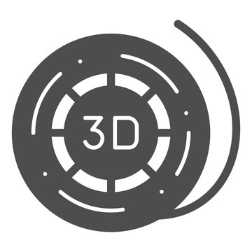 3d printer reel solid icon. Coil for 3d printer vector illustration isolated on white. 3d printer filament spool glyph style design, designed for web and app. Eps 10.