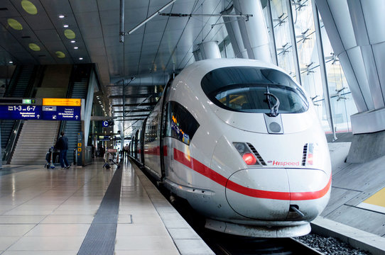 FRANKFURT, GERMANY - SEP 14, 2009: ICE 3 Hispeed train or Intercity-Express 3 in Frankfurt Airport train station. Ice 3 is a family of high-speed EMU trains operated by Deutsche Bahn.