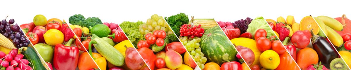 Foto op Aluminium Verse groenten Collection fresh fruits and vegetables isolated on white background. Panoramic collage.