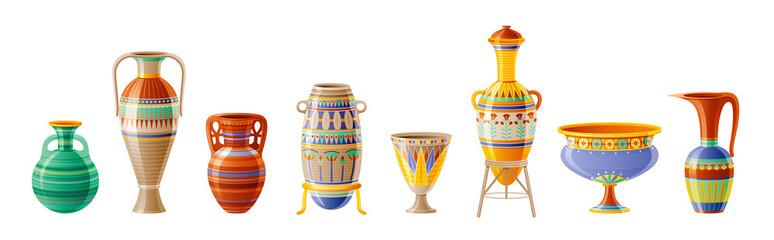 Fototapeta Egyptian crockery icon set. Vase, pot, amphora, jug. Old geometric floral ornament decoration from ancient Egypt clay art craft. Cartoon 3d realistic, vector illustration isolated on white background obraz