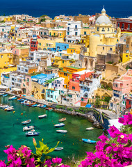 Landscape with colorful houses on Procida island, Italy