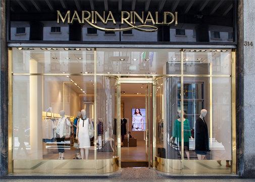 Marina Rinaldi store in Turin, Italy. Marina Rinaldi is plus-size womens clothing brand of the Italian Max Mara Fashion Group