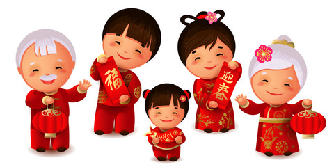 Happy chinese family celebrate Lunar New Year.Spring festival.Chinese signs on scrolls mean richness and to meet spring