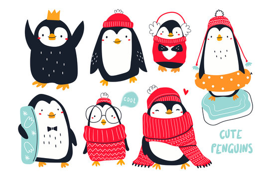 Hand drawn vector set of cute funny various penguins. Different clothing, various poses. Colored trendy illustration. Flat design. All elements are isolated