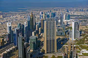 View of skyscrapers in downtown Dubai City, United Arab Emirates