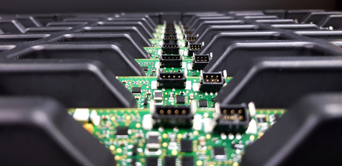 Obraz Electronics Manufacturing Services, Assembly Of Circuit Board arrangement, close-up of the raw of PCBA in tray. - fototapety do salonu