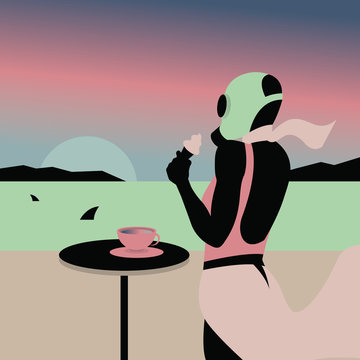 Abstract illustration of woman eating ice cream and watching sunrise