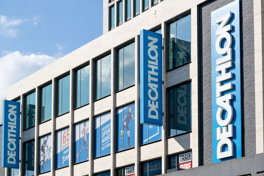 ROTTERDAM, NETHERLANDS - September 23, 2017: Decathlon sign at branch. Decathlon is a French sporting goods retailer, the largest sporting goods retailer in the world.