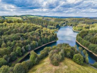Aerial view of the Fuerwigge dam near Meinerzhagen in the Sauerland in Germany..