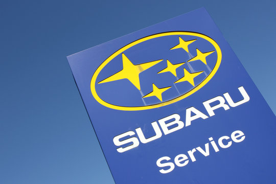 WIEHL, GERMANY - August 27, 2016: Subaru dealership sign against blue sky. Subaru is the automobile manufacturing division of Japanese transportation conglomerate Fuji Heavy Industries.