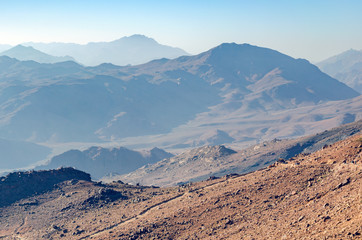 Beautiful mountain landscape, view from Mount Moses in Egypt on the Sinai Peninsula