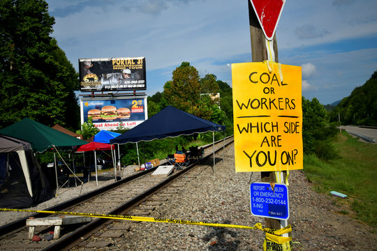 A small camp and blockade of railroad tracks set up by striking miners in Cumberland