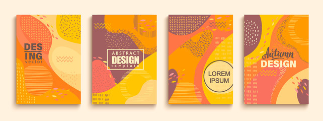 Abstract set of autumn doodle geometric banners.Color splashes,lines and dots in trendy Memphis animation style.Creative fluid style poster collection for party, banner, cover, print, ad, web. Vector.