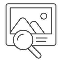 Photo search thin line icon. Picture and lens vector illustration isolated on white. Magnifier and image outline style design, designed for web and app. Eps 10.
