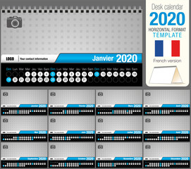 Useful desk triangle calendar 2020 template, with space to place a photo. Size: 22 cm x 12 cm. Format horizontal. French version