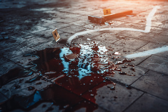 Pool of thick blood and hammer - murder weapon on dirty floor. Crime scene, close up