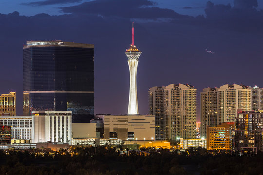 Evening view of the Stratosphere tower on June 10, 2015 in Las Vegas, Nevada, USA