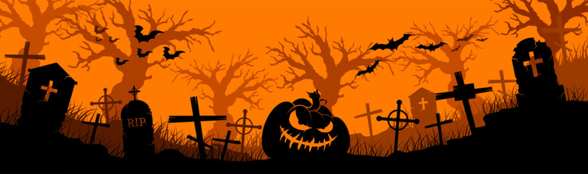 Happy Halloween banner. Halloween pumpkins and bats. Vector illustration.