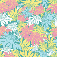 Vector pastel colourful seamless pattern with tropical torch ginger flowers. Suitable for textile, gift wrap and wallpaper.
