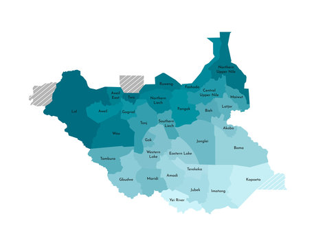 Vector isolated illustration of simplified administrative map of South Sudan. Borders and names of the states (regions). Colorful blue khaki silhouettes
