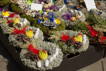 Easter market in Europe. Handmade Easter decorations on market