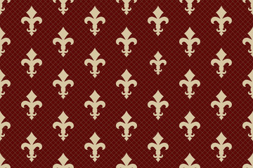 Vintage luxury Fleur-de-lis seamless royal background. France historic  ornamental pattern with heraldic symbol Fleur de Lis. Red and gold style immaculate virgin symbolics. Vector illustration