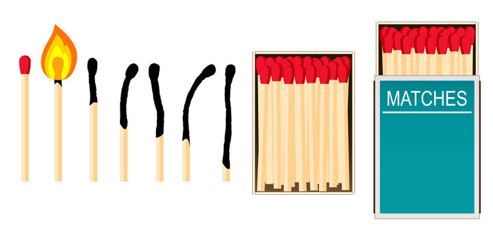 Matches. A set of vector illustrations: a burning match with fire, opened matchbox, burnt matchstick isolated on white.