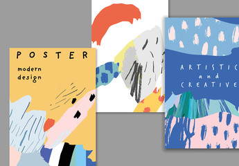 Creative Poster Layouts with Abstract Paint Elements