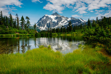 Acrylic Prints Mountains Picture Lake with Mt. Shuksan, Washington state. Picture Lake is the centerpiece of a strikingly beautiful landscape in the Heather Meadows area of the Mt. Baker-Snoqualmie National Forest.