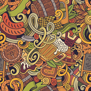 Cartoon cute funny doodles Octoberfest seamless pattern