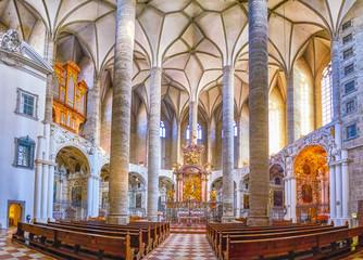 The interior of Franciscan Church in Salzburg, Austria