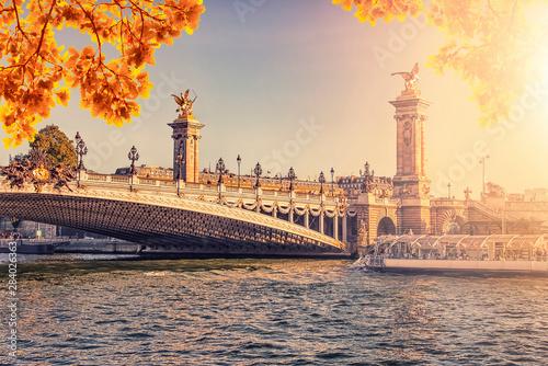 Fototapete Autumn evening in Paris with the Alexandre III bridge
