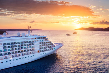 Croatia. Aerial view at the cruise ship during sunset. Adventure and travel.  Landscape with cruise liner on Adriatic sea. Luxury cruise. Travel - image Wall mural