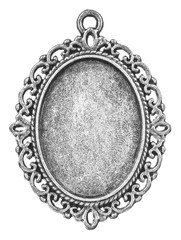 Vintage silver cabochon setting oval frame isolated on white background