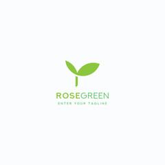 Logo Letter R Leaf, Concept Letter r + Icon Green Leaf Simple Design.