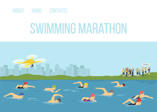 Swimmer athletes competition maraphone in river vector cartoon illustration. Sportsman swimming freestyle. Sport competition race events. People swim with fans on the shore and quadcopter.