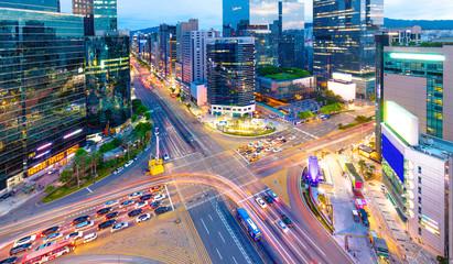 Traffic Seoul City at Gangnam  district South Korea Fotobehang
