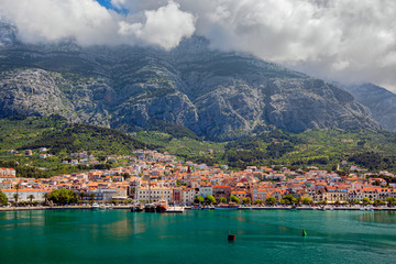 View of the resort town of Makarska on a summer day, in Makarska Riviera, Croatia