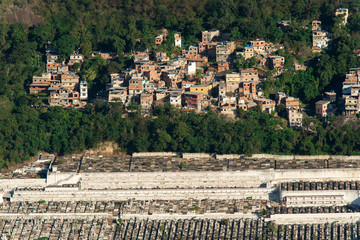Simple Red Brick Houses of Poor People in the Forest on the Hill Above the City Cemetery in Rio de Janeiro, Brazil