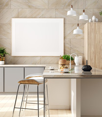 Mock up poster in cozy kitchen interior, Scandinavian style, 3d render