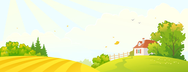 Vector cartoon drawing of a fall farm scene with a yellow field and a small house